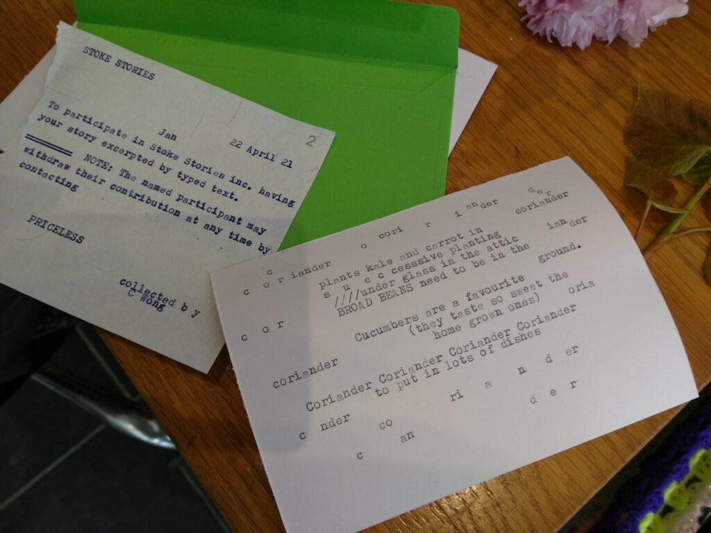 Food stories on a typewriter