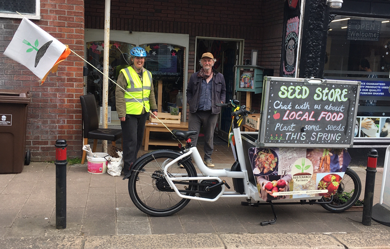 Tess and Sean with the Sustenance cargo bike